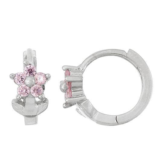 Pink Cubic Zirconia Sterling Silver 10.8mm Flower Hoop Earrings