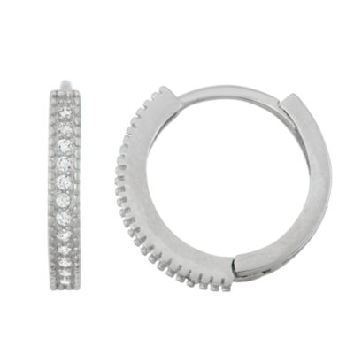 White Cubic Zirconia Sterling Silver 13.9mm Hoop Earrings