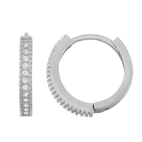 White Cubic Zirconia Sterling Silver 139mm Hoop Earrings