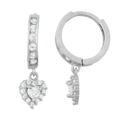 White Cubic Zirconia Sterling Silver 19.9mm Heart Hoop Earrings