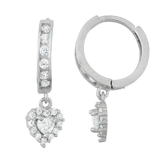White Cubic Zirconia Sterling Silver 19.9mm Heart Hoop Earrings