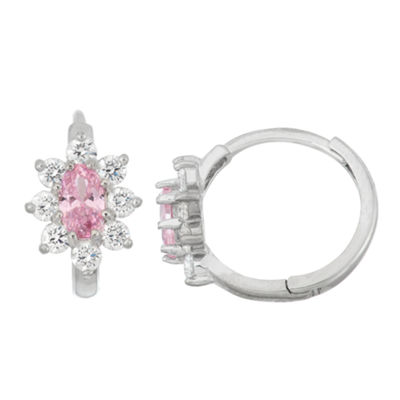 Pink Cubic Zirconia Sterling Silver 12.6mm Hoop Earrings