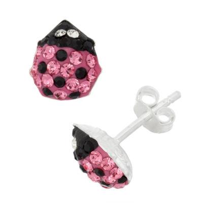 Pink Crystal Sterling Silver 9mm Stud Earrings