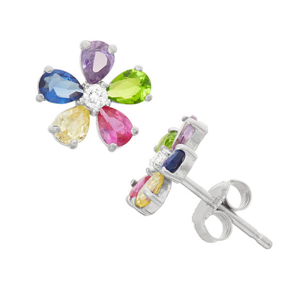 Round Multi Color Cubic Zirconia Sterling Silver Stud Earrings