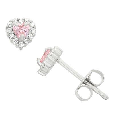 Pink Cubic Zirconia Sterling Silver 5.4mm Heart Stud Earrings
