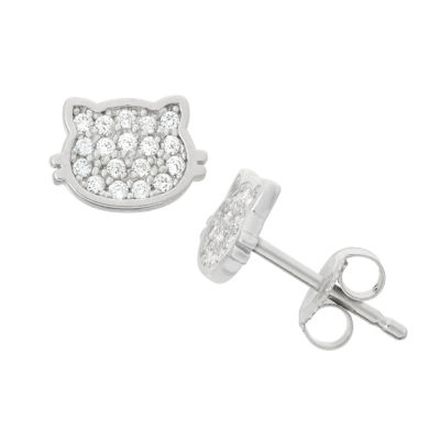 White Cubic Zirconia Sterling Silver 8.6mm Stud Earrings