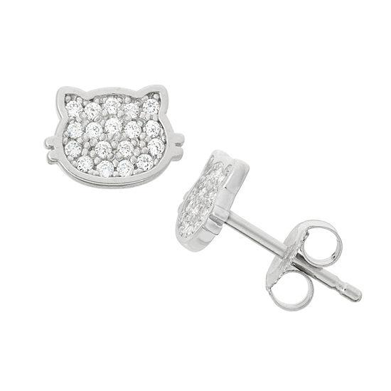White Cubic Zirconia Sterling Silver 8.6mm Stud Earrings