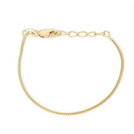 Children's 14K Yellow Gold Over Silver Wheat Chain Bracelet