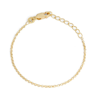 Children's 14K Yellow Gold Over Silver Rolo Chain Bracelet