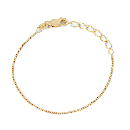 Children's 14K Yellow Gold Over Silver Box Chain Bracelet