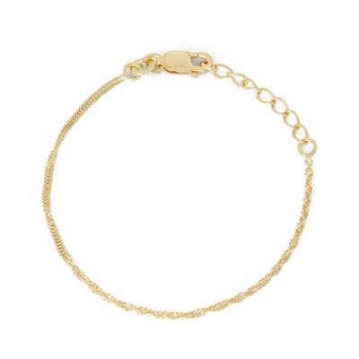 14K Gold Over Silver 6 Inch Solid Singapore Link Bracelet