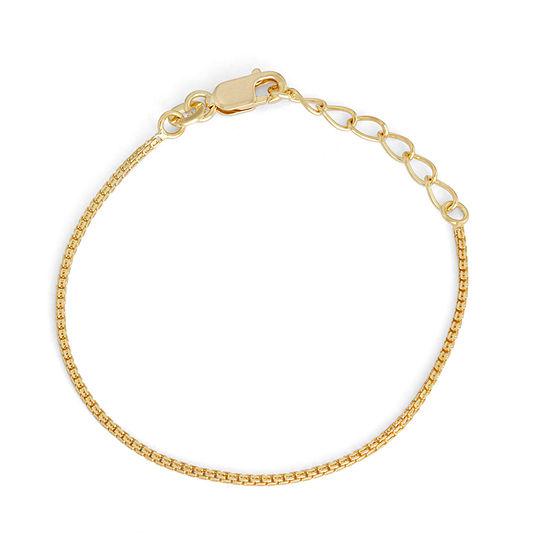 14K Gold Over Silver 6 Inch Solid Box Link Bracelet