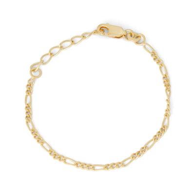Girls 6 Inch 14K Gold Over Silver Link Bracelet