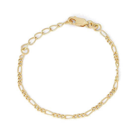14K Gold Over Silver 6 Inch Solid Figaro Link Bracelet