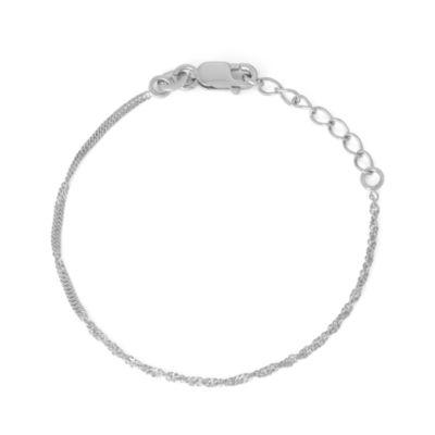 Sterling Silver 6 Inch Solid Singapore Link Bracelet