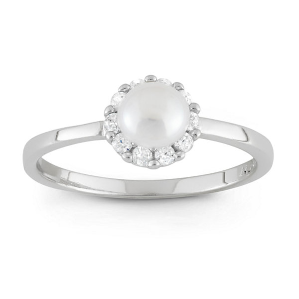 Girls White Pearl Delicate Ring