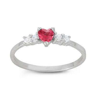 Girls Pink Cubic Zirconia Sterling Silver Heart Delicate Ring