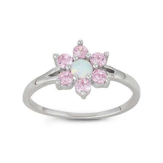 Girls White Opal Sterling Silver Flower Delicate Cocktail Ring