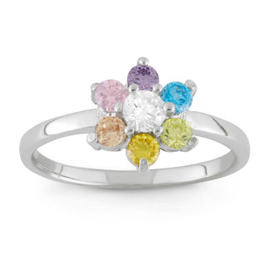 Girls Multi Color Cubic Zirconia Sterling Silver Flower Delicate Ring