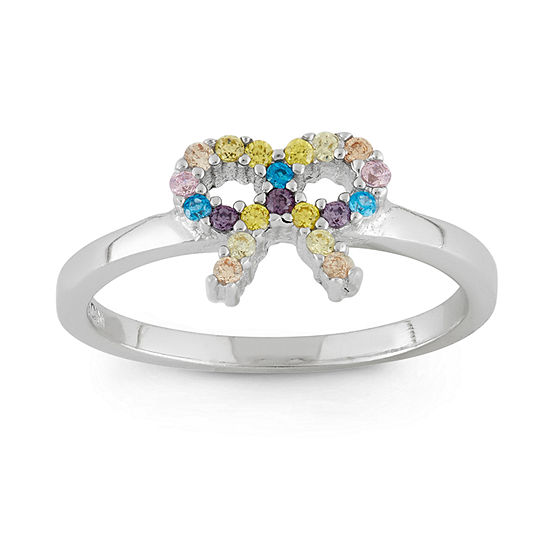 Girls Multi Color Cubic Zirconia Sterling Silver Delicate Cocktail Ring