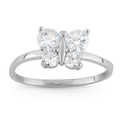 Girls White Cubic Zirconia Sterling Silver Butterfly Delicate Ring