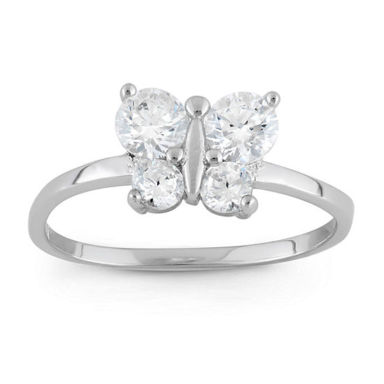 Girls White Cubic Zirconia Butterfly Delicate Cocktail Ring