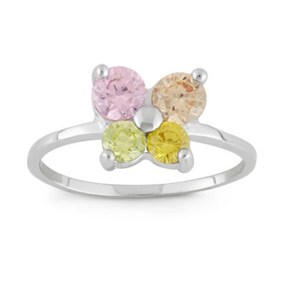 Girls Multi Color Cubic Zirconia Sterling Silver Butterfly Delicate Ring