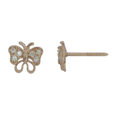 Cubic Zirconia 14K Yellow Gold Butterfly Stud Earrings