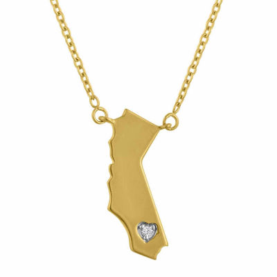 """Home"" Womens Diamond Accent Genuine White Diamond 14K Gold Over Silver Pendant Necklace"