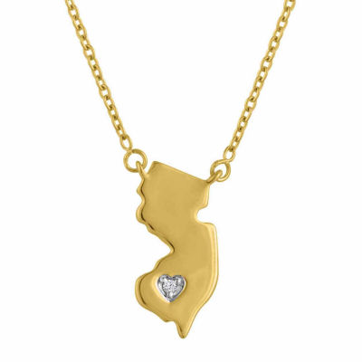 """Home"" Womens Diamond Accent Genuine White Diamond 14K Gold Over Silver Pendant Necklace"