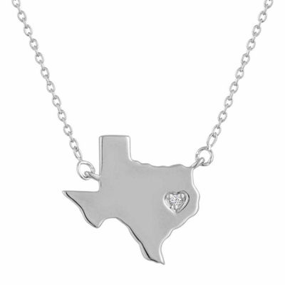 Diamond Accent Sterling Silver Texas Pendant Necklace