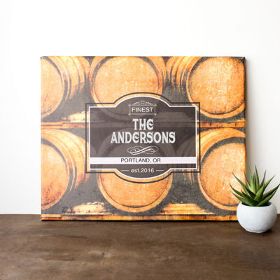 Cathy's Concepts Personalized Whiskey Barrel Canvas