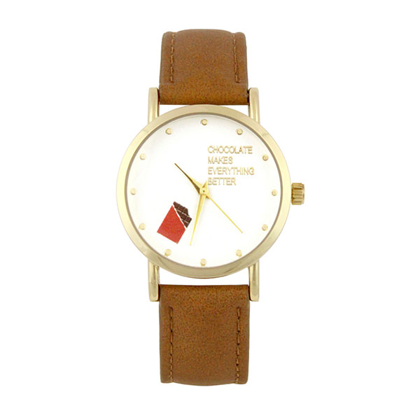 Mixit Chocolate Makes Everything Better Womens Brown Strap Watch-Pts5070