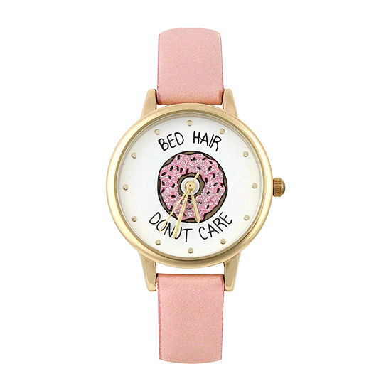 Mixit Donut Womens Pink Strap Watch-Pts2940gdpk