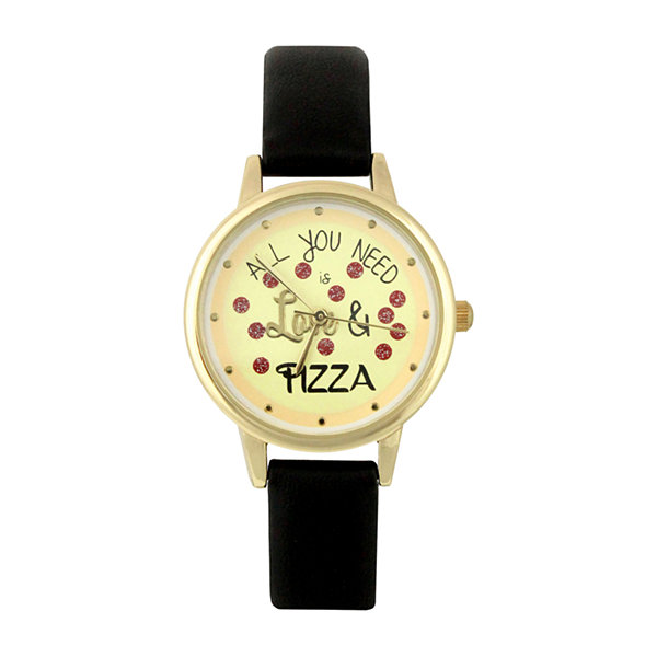 Mixit All You Need Is Love & Pizza Womens Black Strap Watch-Pts2940gdbk