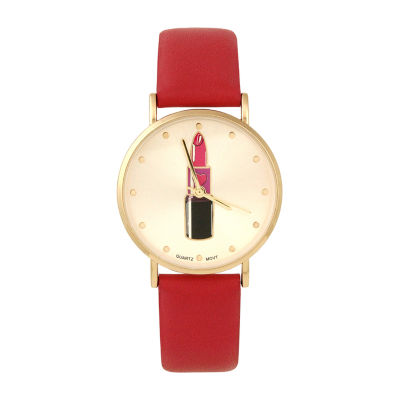 Mixit Lipstick Dial Womens Red Strap Watch-Pts2786