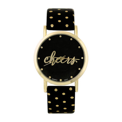 Mixit Cheers Womens Black Strap Watch-Pts5073gdbk
