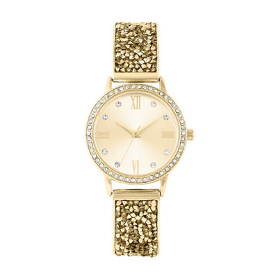 Geneva Womens Gold Tone Strap Watch-Pts3045gd