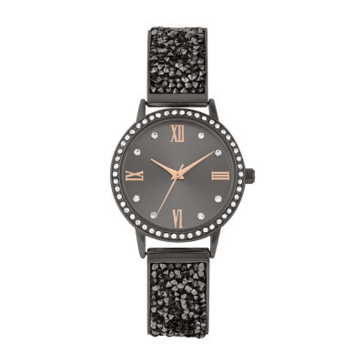 Geneva Womens Black Bracelet Watch-Pts3045gm