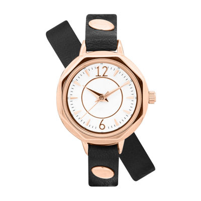 Decree Wrap Around Band Womens Black Strap Watch-Pts2478rgbk