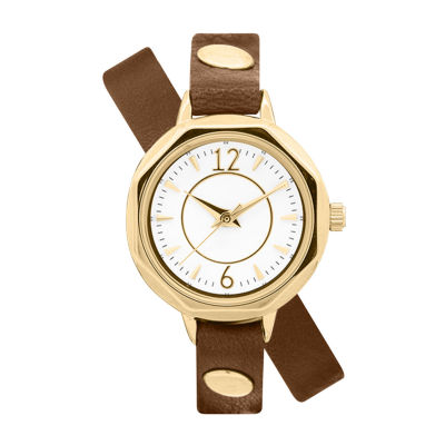 Decree Wrap Around Band Womens Brown Strap Watch-Pts2478gdbr