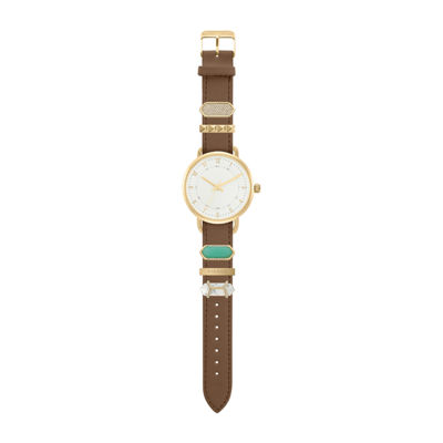 Decree Stackable Charms Womens Brown Strap Watch-Pts2802gdbr