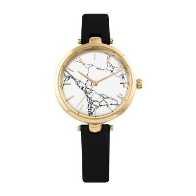 Decree Marble Dial Womens Black Strap Watch-Pts2924gdbk