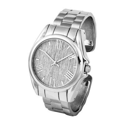 Mixit Womens Silver Tone Bangle Watch-Pts3207sl