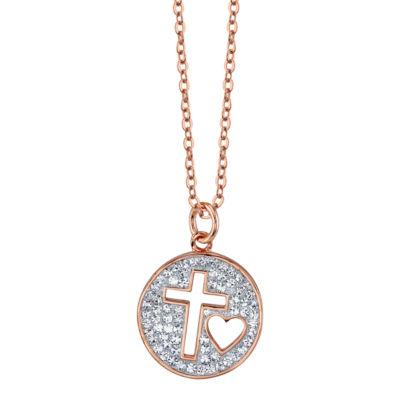 Sparkle Allure Womens Clear Round Pendant Necklace