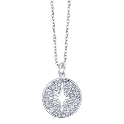Sparkle Allure Womens Clear Round Pendant Necklace