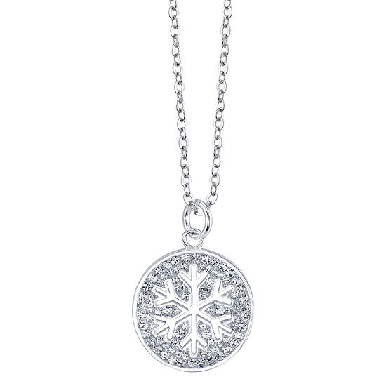 Sparkle Allure Womens Crystal Round Pendant Necklace