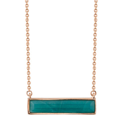 Footnotes Womens Rectangular Pendant Necklace