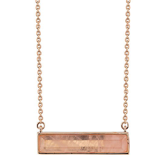 Footnotes Womens Pink Rectangular Pendant Necklace