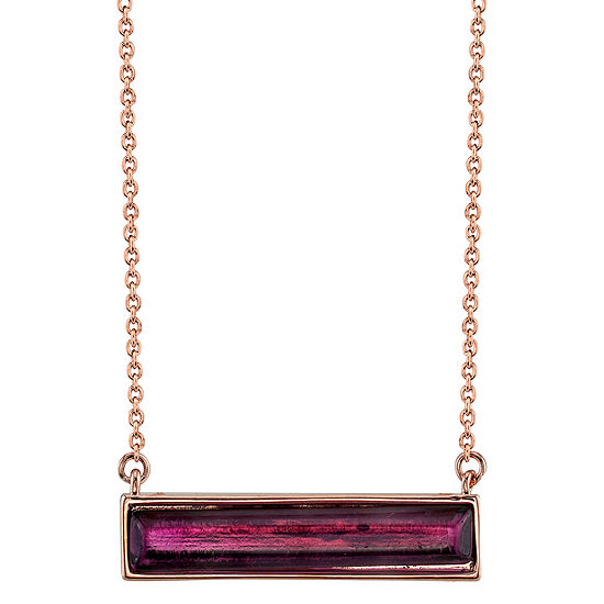 Footnotes Amethyst 18 Inch Cable Rectangular Pendant Necklace